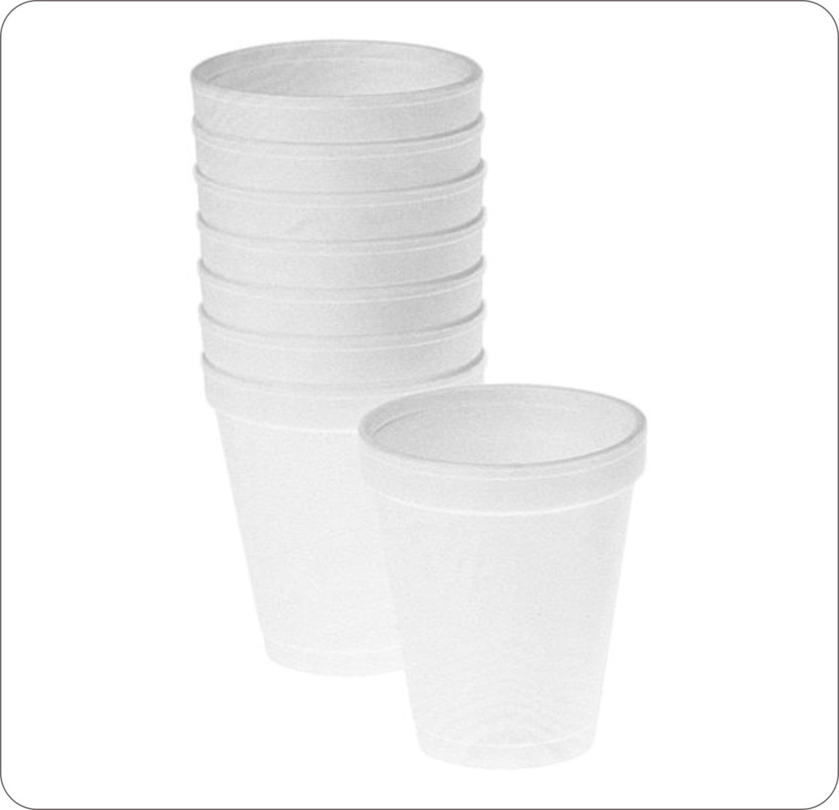 Cups Assorted Foam Plain White