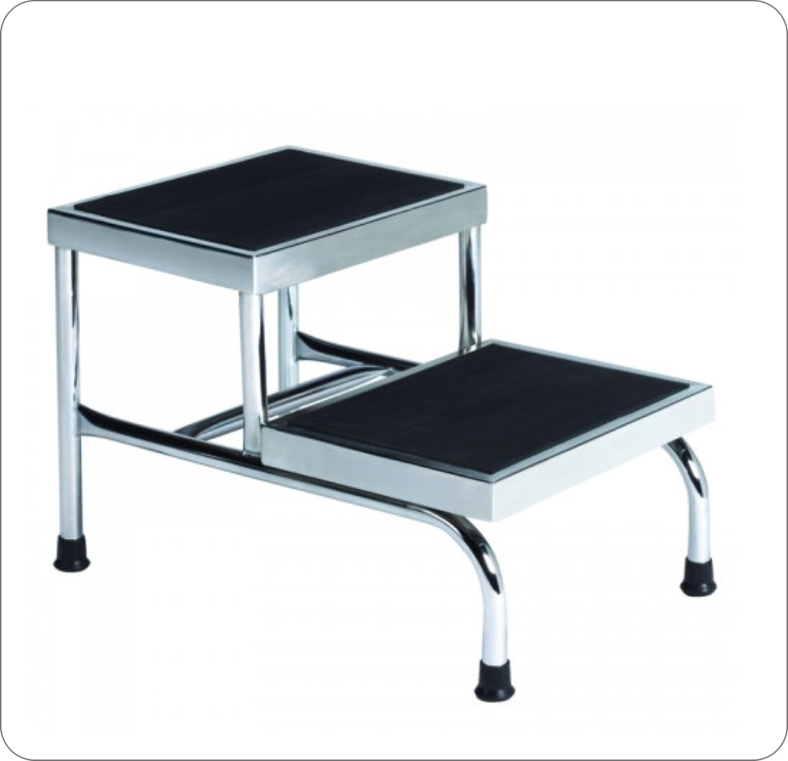 Footstool Chrome Non-Skid Top H 350Lb Capacity