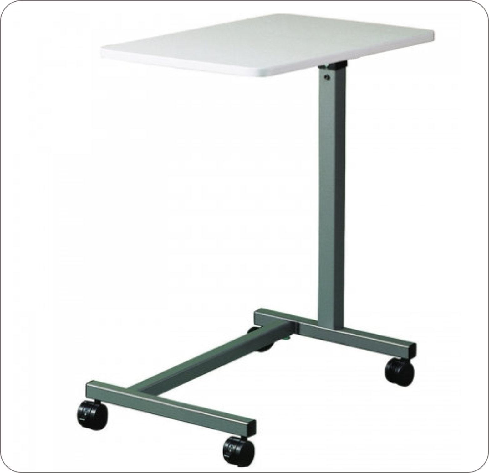 Table Overbed Gray Top Chrome U-Base Height Adjustable
