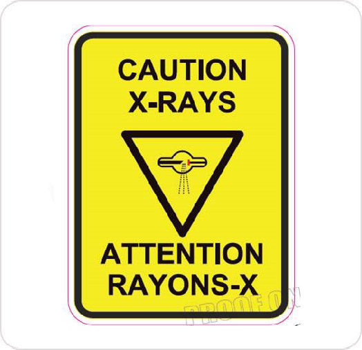 Decal Vinyl Adhesive Back Caution X-Ray