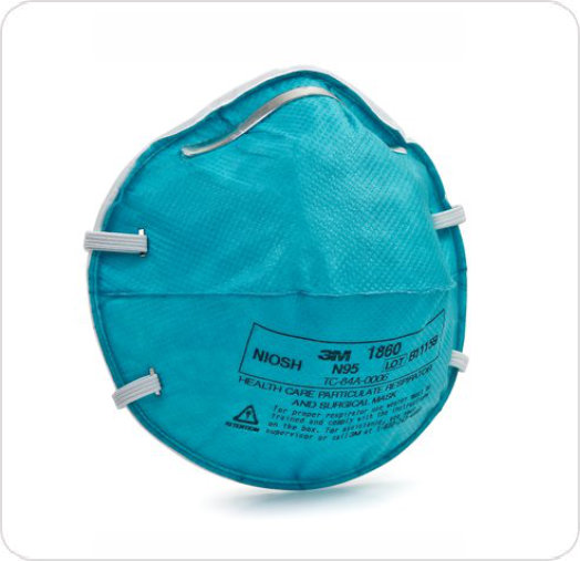 Mask N95 Respirator Molded 3M Fluid Repellant Healthcare Regular Size