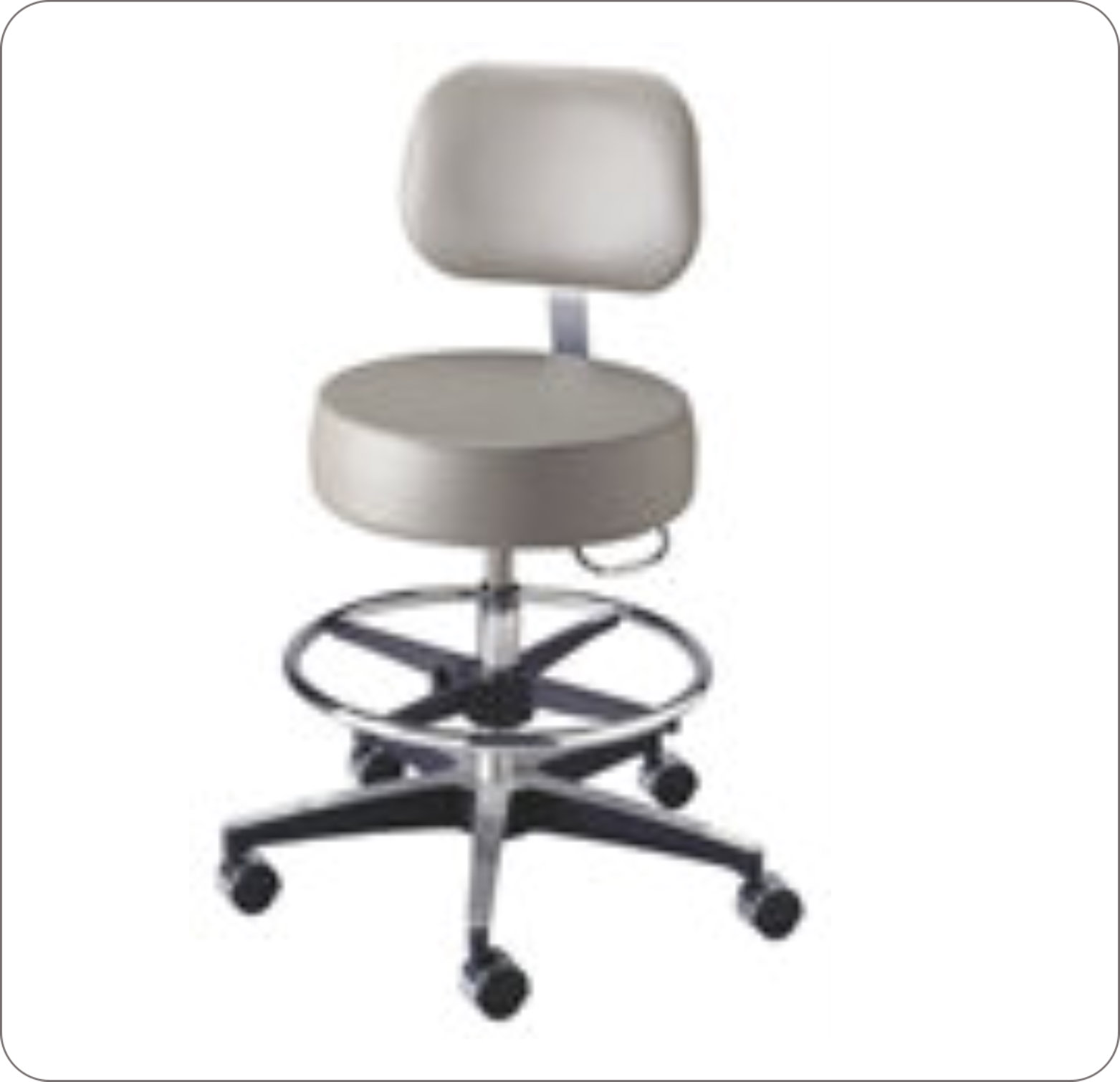 Stool Physician Air Lift W/Back & Foot Ring Black