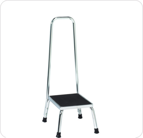 Footstool Chrome w/Handrail Non-Skid Top